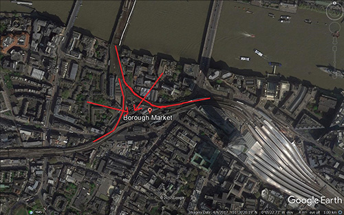 London's Borough Market, showing the Sha Qi pressing on the site. Imagery courtesy of Google Earth.