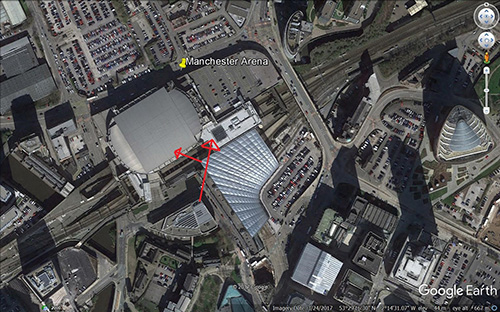 Manchester Arena showing Sha Qi Image courtesy of Google Earth